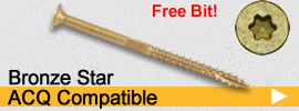 bronze star drive ac257c compliant wood screws