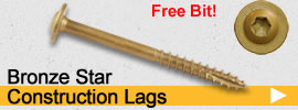 AC257 Compliant coated heavy duty construction lag screws