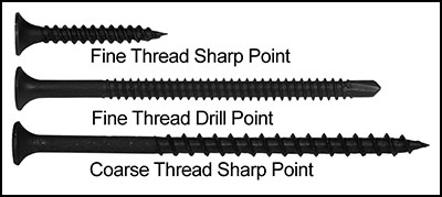 6 x 2 Square Bugle Coarse Drywall Screws Black Phosphate Carton 3500