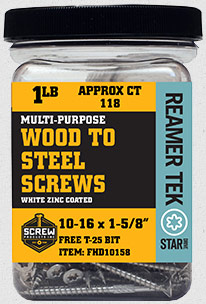Reamer Tek Star Drive Wood to Steel Screws Now Available in 1lb Jars